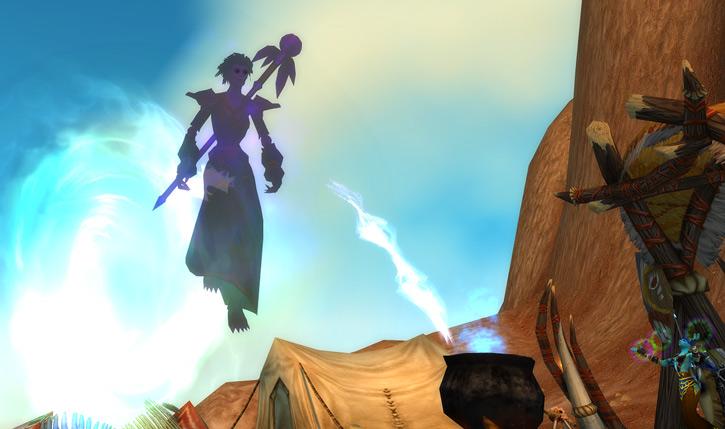World of Warcraft - Forsaken Shadow Priest floating in a magic vortex near a troll
