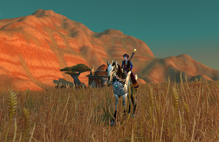 World of Warcraft - Forsaken Shadow Priest on a skeletal horse in the Barrens