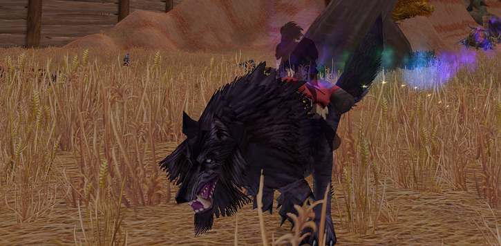 World of Warcraft - Forsaken Shadow Priest riding a giant black wolf in shadow form
