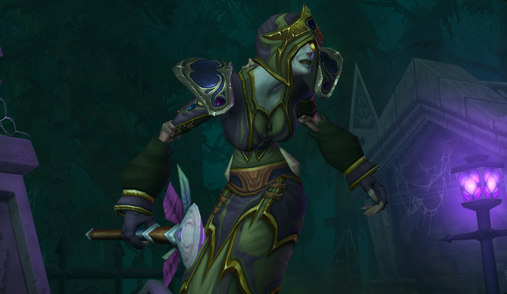 World of Warcraft - Forsaken Shadow Priest with green dress and hood