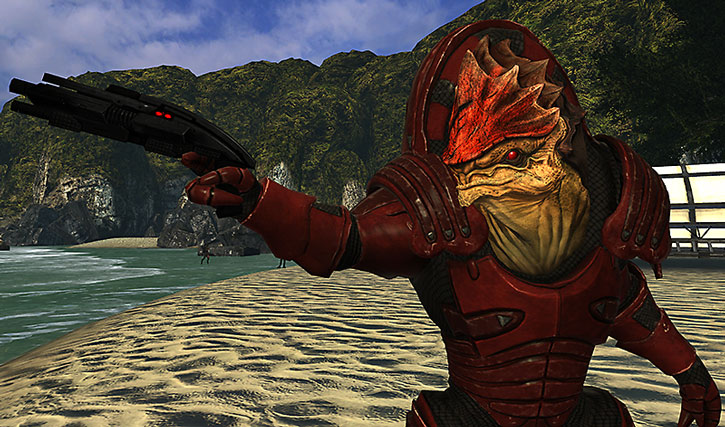 Urdnot Wrex points his shotgun