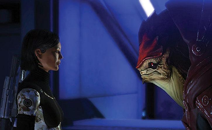 Urdnot Wrex facing Commander Shepard
