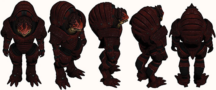 Urdnot Wrex character model sheet, high angle shot