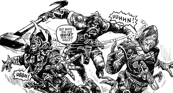 Wulf Sternhammer (Strontium Dog) bushwhacks two aliens