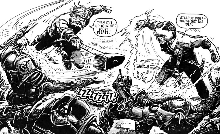Wulf Sternhammer (Strontium Dog) fighting along with Johnny Alpha