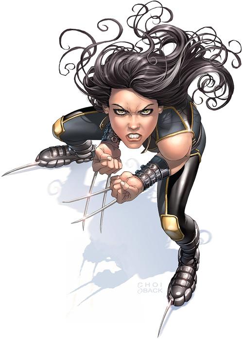 X-23 of the X-Men (Laura Kinney) (Marvel Comics) (Wolverine clone) scowling