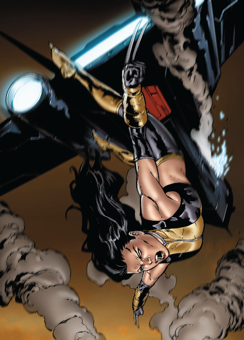 X-23 of the X-Men (Laura Kinney) (Marvel Comics) (Wolverine clone) leaps from a damaged plane