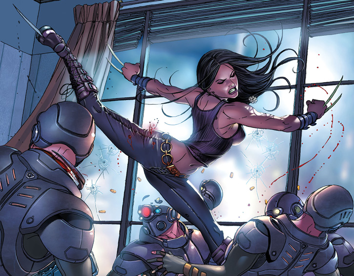 X-23 of the X-Men (Laura Kinney) (Marvel Comics) (Wolverine clone) killing soldiers