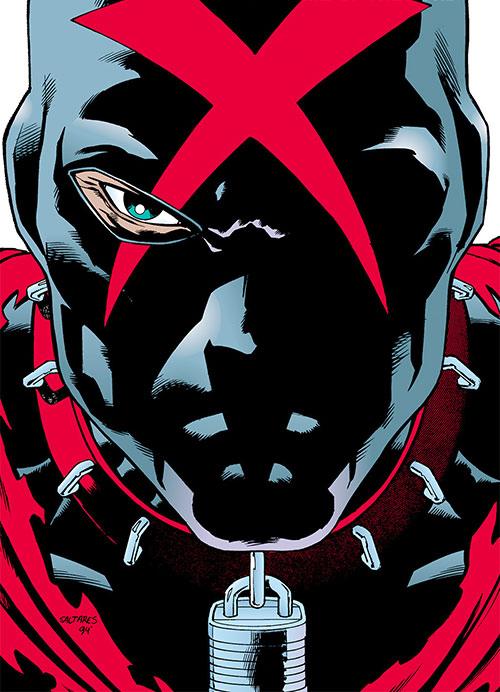 X face and mask closeup