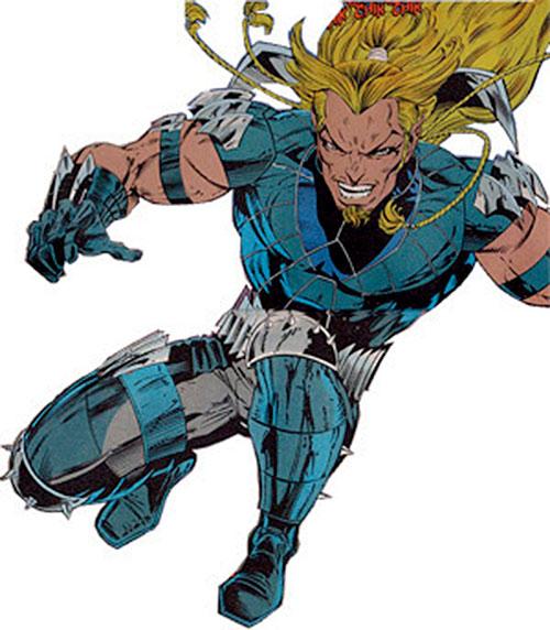 X-Treme (Adam-X) (Marvel Comics) in mid-leap