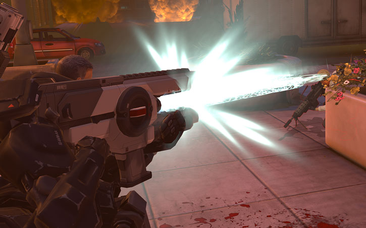 XCom MEC soldier shooting railgun