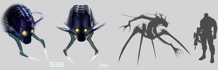 XCom: Enemy Unknown - Chryssalid alien head closeup and size comparison