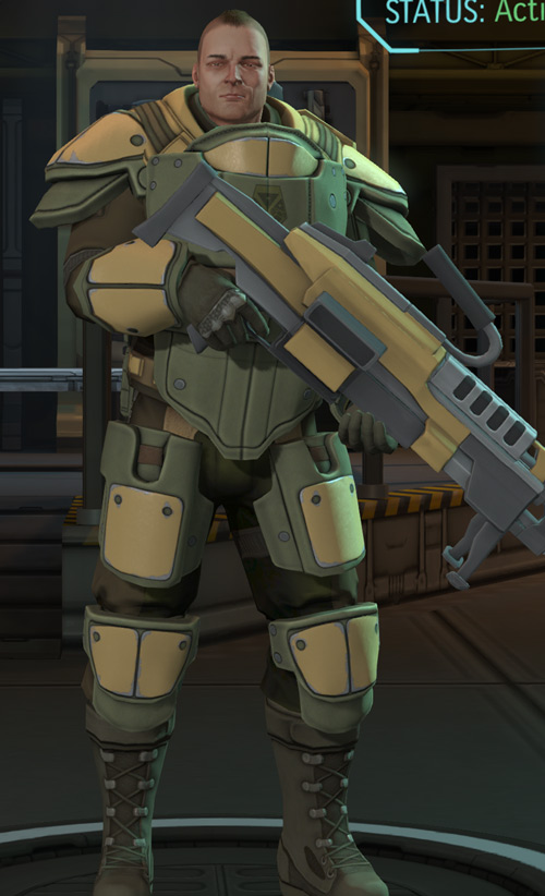 XCom Enemy Within - heavy with machinegun