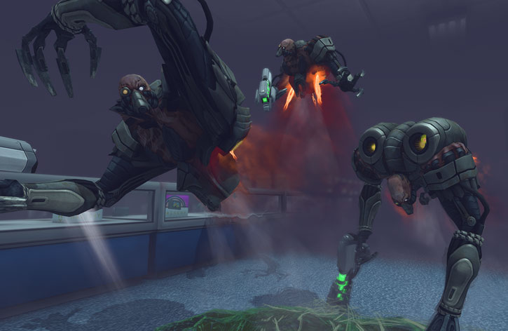 XCom: Enemy Unknown - trio of floater aliens scrambling