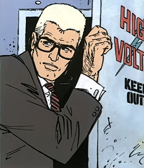 XIII with short blond hair and rimmed glasses