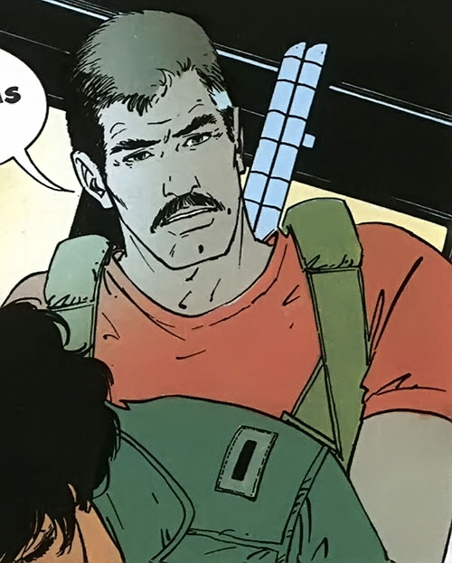 XIII with a mustache and a parachute