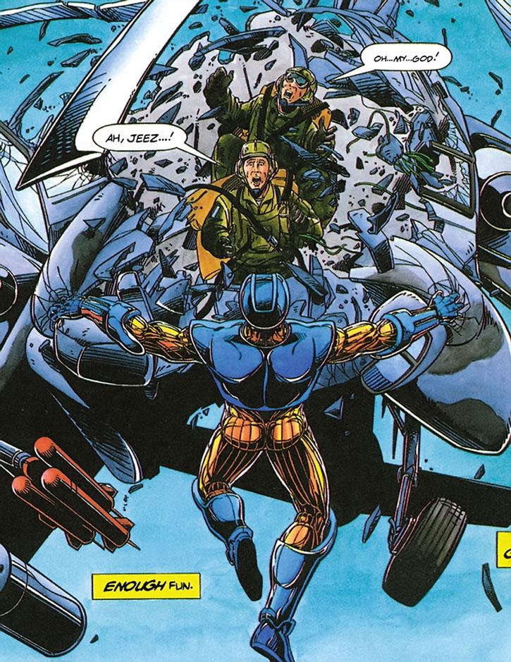 XO Manowar (Aric Dacia) tears an helicopter gunship apart