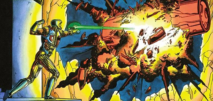 XO Manowar (Aric Dacia) blasts a machine
