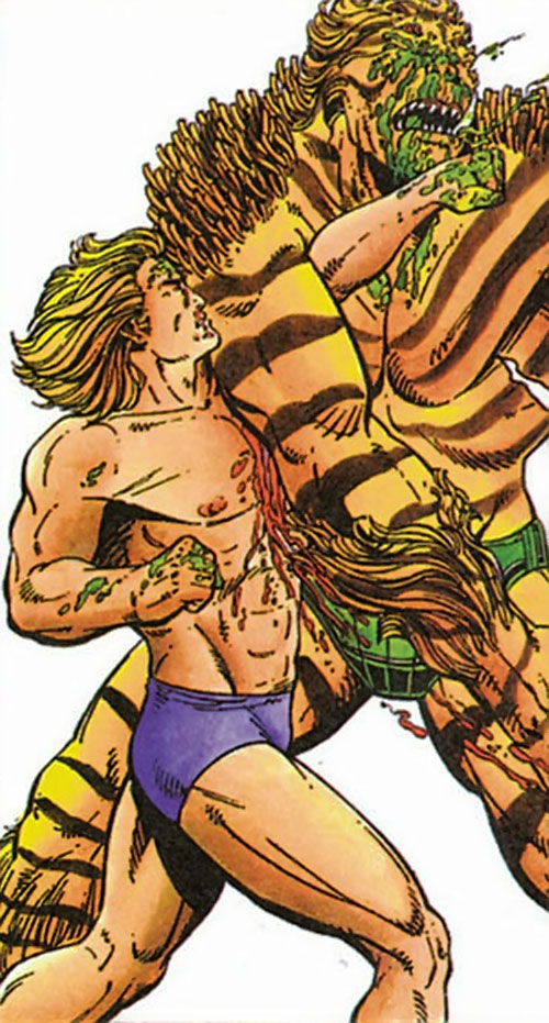 XO Manowar (Valiant Comics original 1990s) fighting an alien without his armor