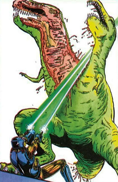 XO Manowar (Valiant Comics original 1990s) cleaving a dinosaur