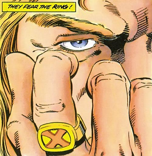 XO Manowar (Valiant Comics original 1990s) ring and eye closeup