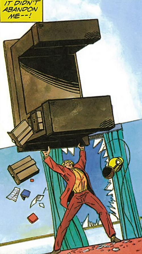XO Manowar (Valiant Comics original 1990s) lifts a large desk
