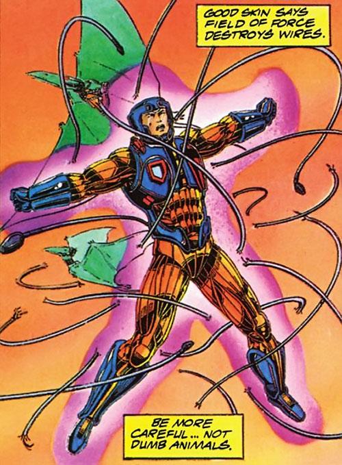 XO Manowar (Valiant Comics original 1990s) breaking bonds with his force field