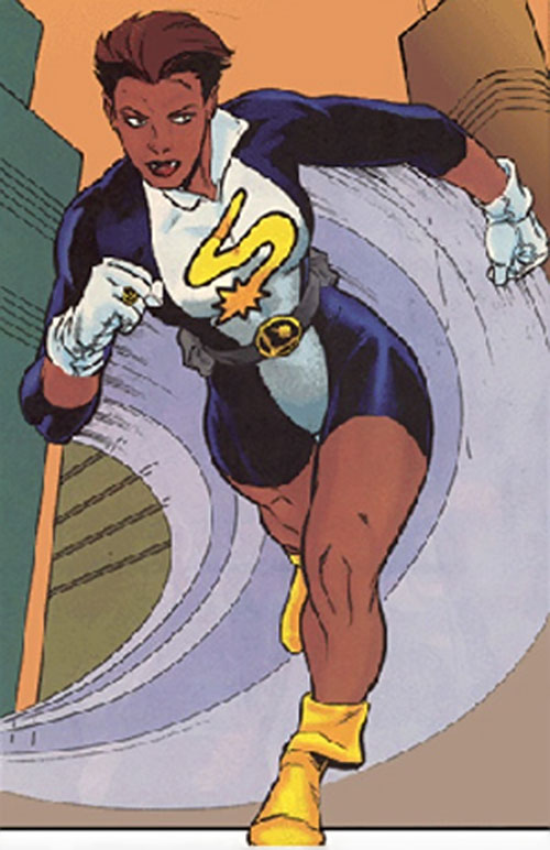 XS of the Legion of Super-Heroes running