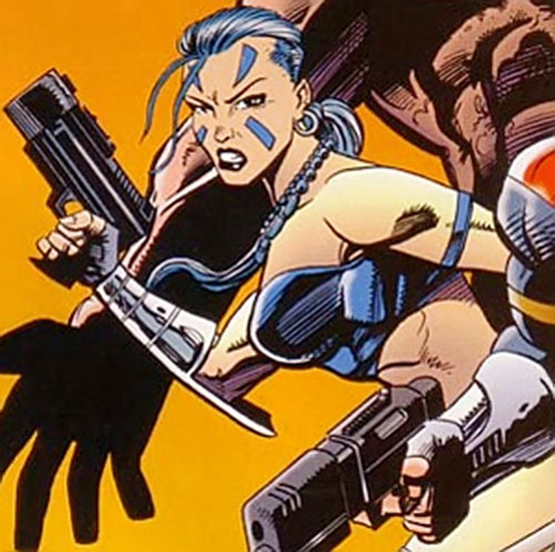 Xantia of the Super-Soldiers (Marvel Comics UK) with a laser pistol