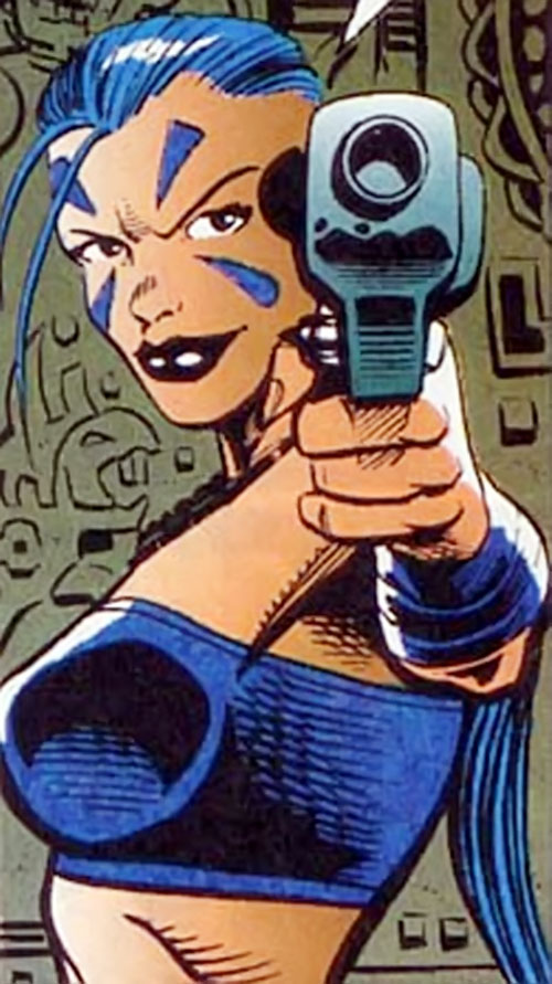Xantia of the Super-Soldiers (Marvel Comics UK) pointing a pistol