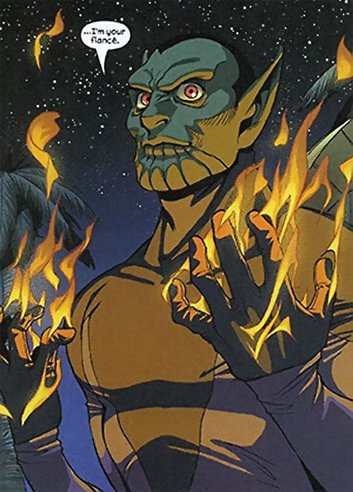 Xavin of the Runaways (Marvel Comics) as a Skrull with burning hands