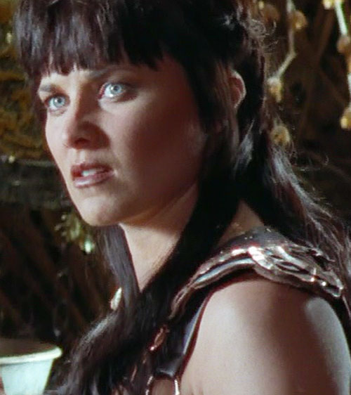 Xena (Lucy Lawless) reacting with disgust