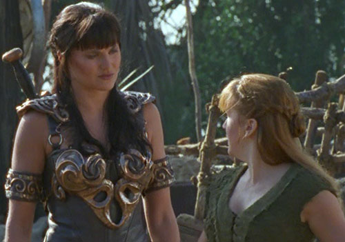 Xena (Lucy Lawless) and a young Gabrielle