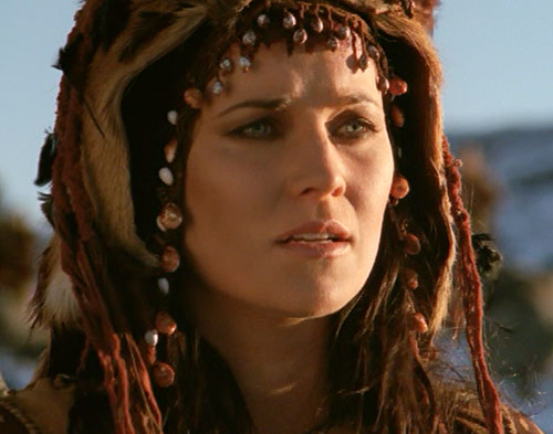 Xena (Lucy Lawless) with a braided and beaded hood