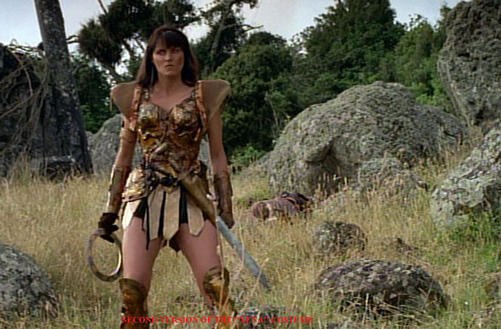 Xena (Lucy Lawless) with the second version of her costume