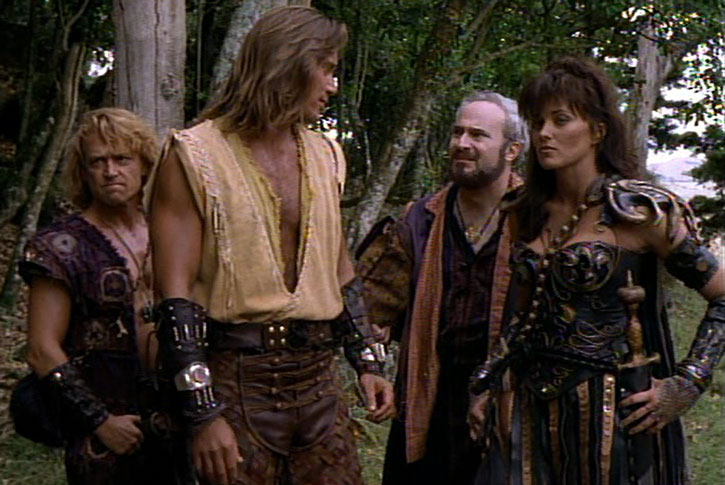 Xena (Lucy Lawless) with Hercules and Iolaus