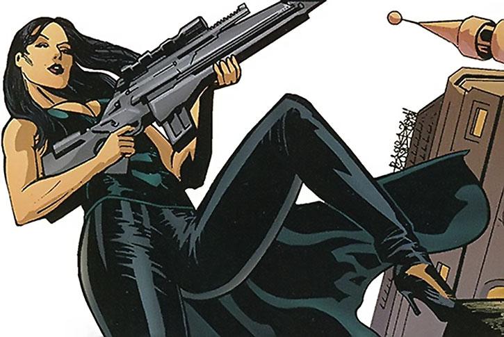 Yasemin Soze with a scoped rifle
