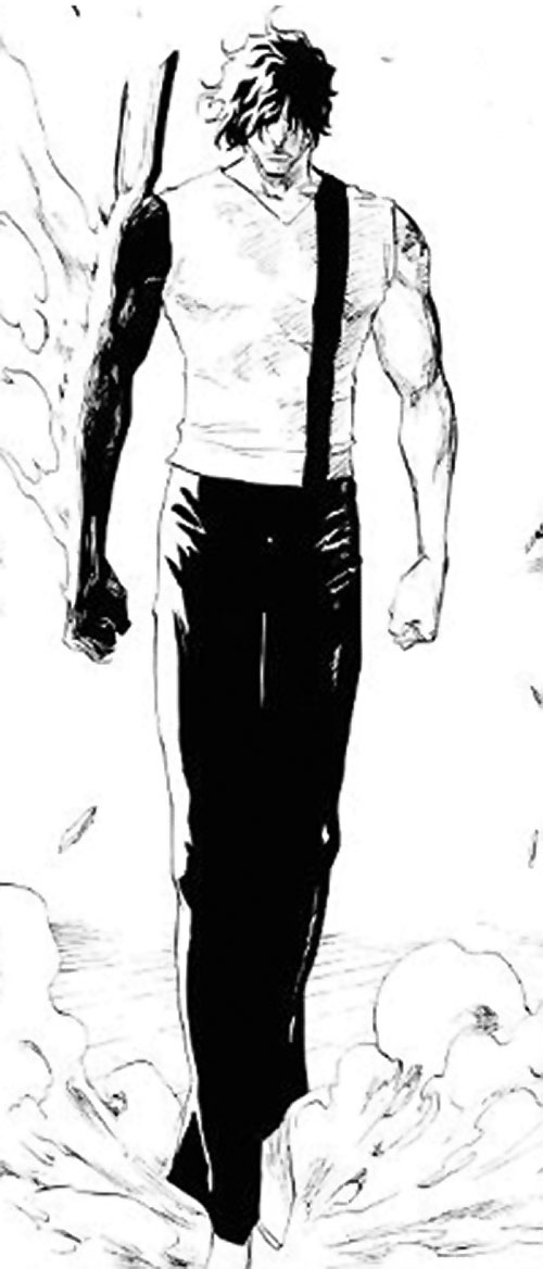 "Yasutora ""Chad"" Sado (Bleach manga) with his arm burning"