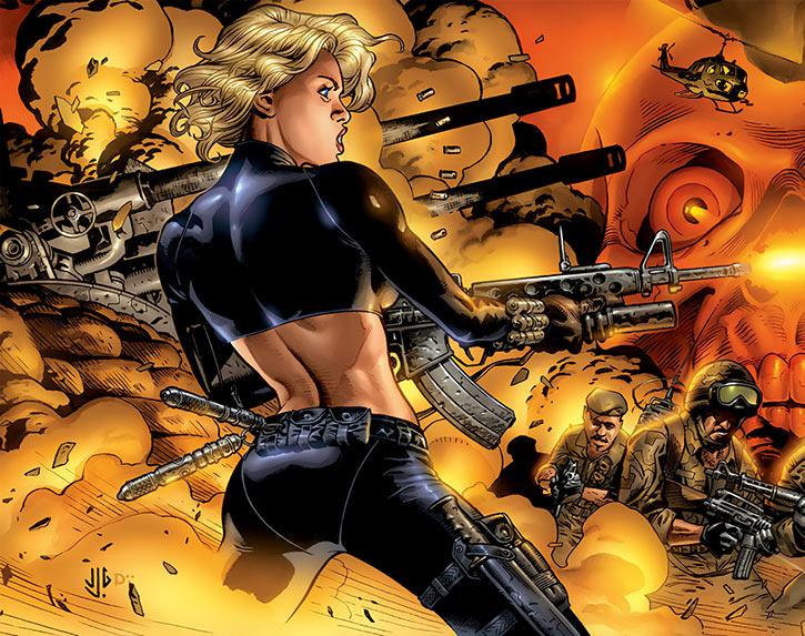 The Black Widow (Yelena Belova) in battle