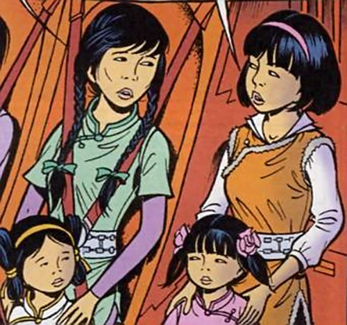 Yoko Tsuno with Lin-Po and the kids