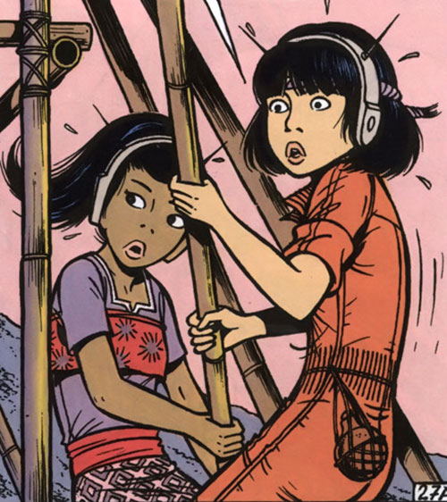 Yoko Tsuno and Monya using a bamboo spike