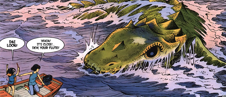 Yoko Tsuno in a small boat runs into a sea monster