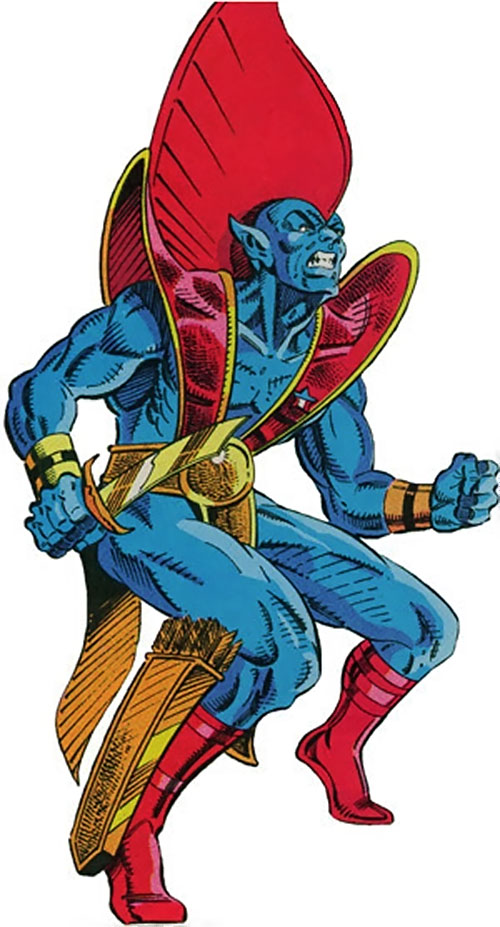 Yondu of the Guardians of the Galaxy (Marvel Comics) with drawn knife and lower leg quiver