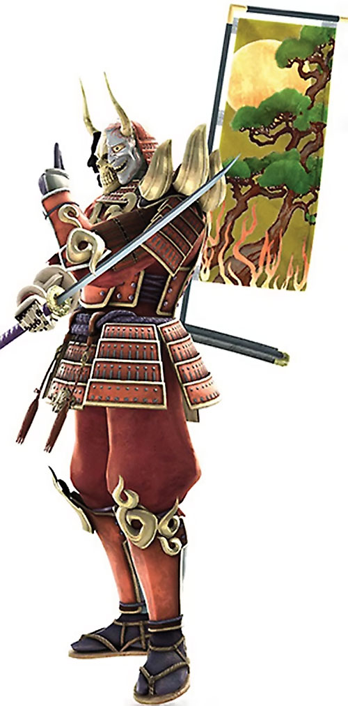 Yoshimitsu (Soul Calibur) with a tree banner