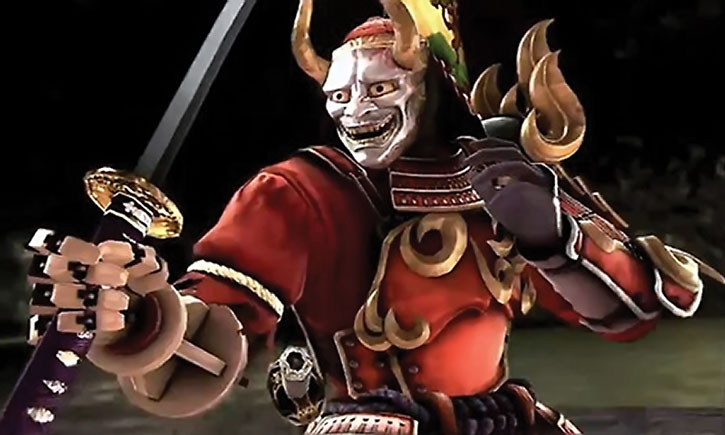 Yoshimitsu with the white demon mask
