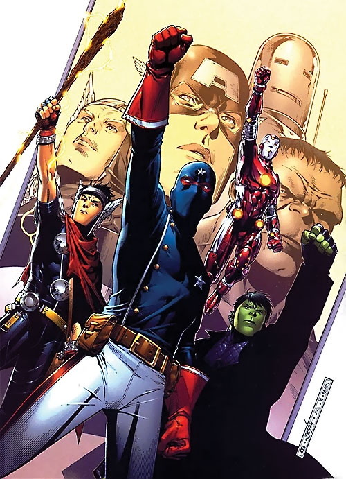 Young Avengers team (Marvel Comics) fist raised