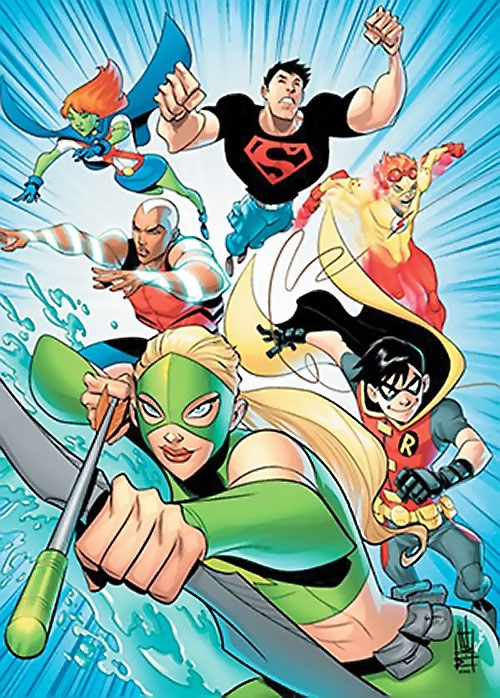 Young Justice cartoon - the team in a comic book style