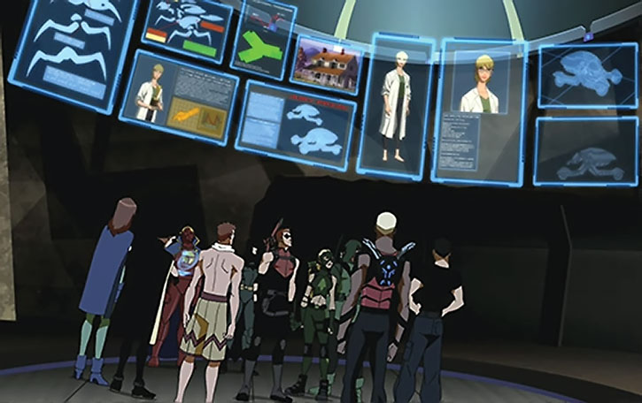 Young Justice and the Justice League being briefed