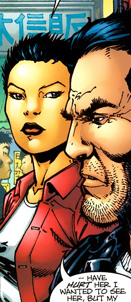 Yukio (Marvel Comics) discussing with Wolverine