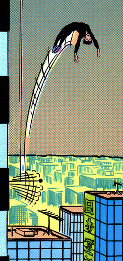 Yukio (Marvel Comics) (Wolverine ally) bouncing on a flagpole